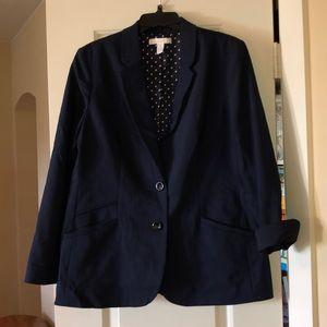 Chico's navy blue blazer jacket 2 12 14 L